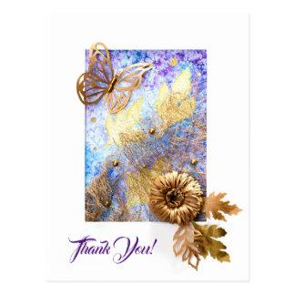 Postal personalizada con la mariposa y las flores