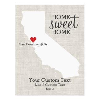 Postal Personalizado casero dulce del hogar del mapa del
