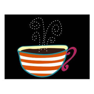 Postal Personalizado retro del té de la taza de café