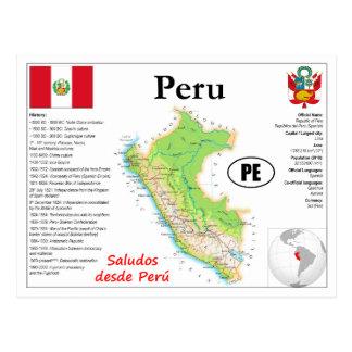 Postal Perú Map Postcard