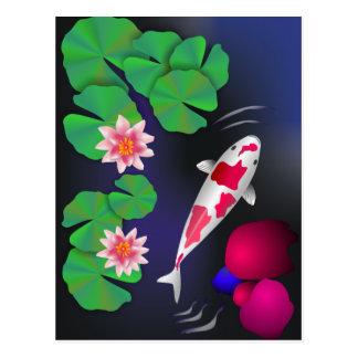 Postal Pescados de Koi del japonés, flores de Lotus y