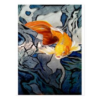 Postal Pescados de Koi en natación del metal 'con los