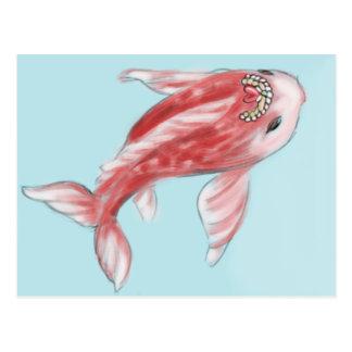 Postal Pescados rojos de Koi