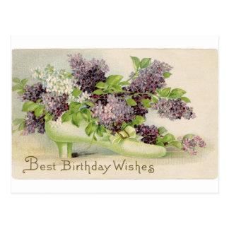Postal pétalos de los flores de la fiesta de cumpleaños