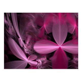 Postal Pétalos rosados metálicos de la flor
