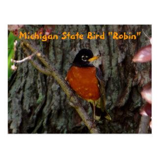 Postal Petirrojo del pájaro de estado de Michigan