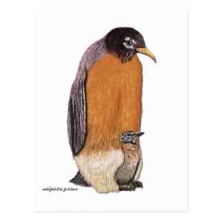 Postal Petirrojo del pingüino con el polluelo