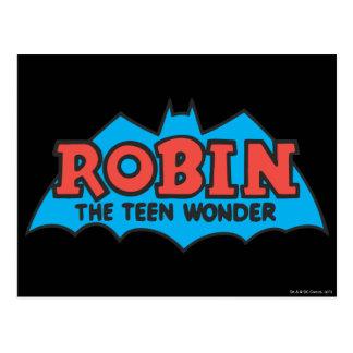 Postal Petirrojo el logotipo adolescente de la maravilla