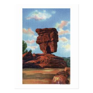 Postal Pico de los lucios, Colorado - roca equilibrada