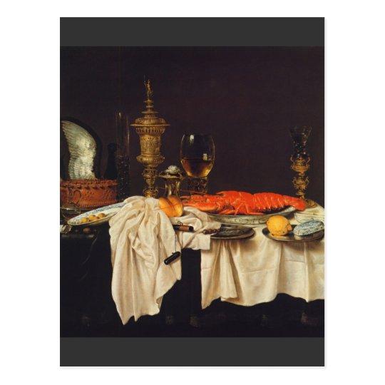 Postal Pieter Claesz - todavía vida con una langosta