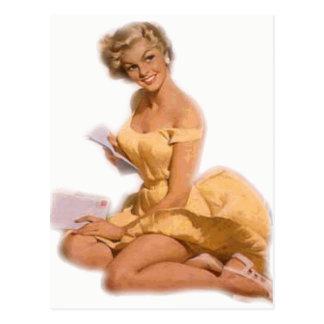 Postal Pin clásico del Blonde encima del chica
