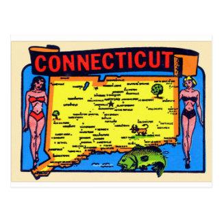 Postal Pin retro de Connecticut del kitsch del vintage