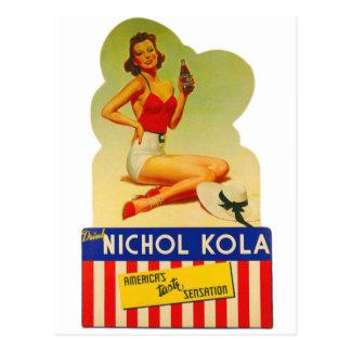 Postal Pin retro del kitsch del vintage encima de la soda