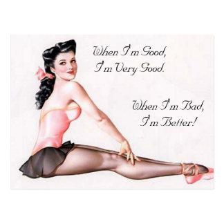 Postal Pin travieso de la bailarina del vintage encima