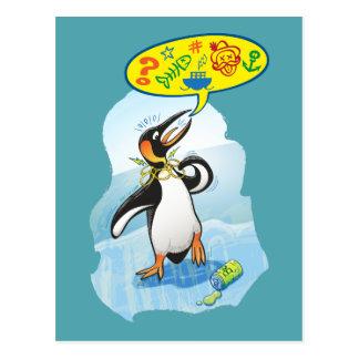 Postal Pingüino de rey desesperado que dice malas