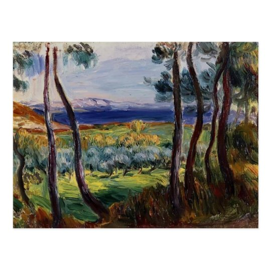 Postal Pinos de Pedro Renoir- cerca de Cagnes