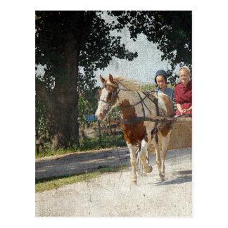 Postal Pinto y niños en cochecillo