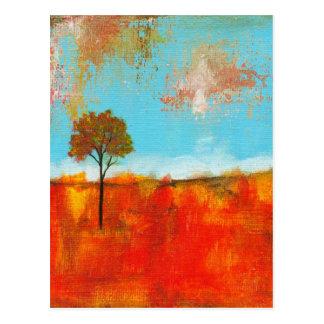 Postal Pintura abstracta del arte del árbol del paisaje
