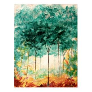 Postal Pintura abstracta del bosque de los árboles del