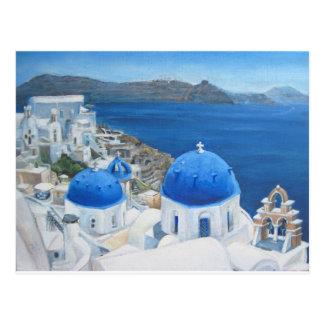 Postal Pintura al óleo de Santorini Oia