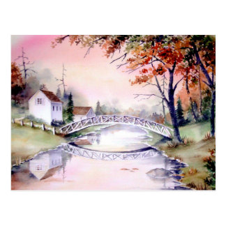 Postal Pintura arqueada de la acuarela del puente