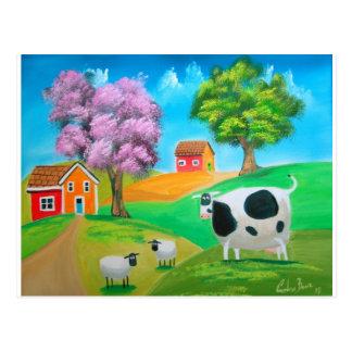 Postal Pintura colorida de la vaca y de las ovejas del