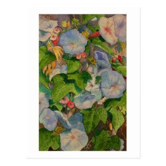 Postal Pintura de la acuarela de los flores de la