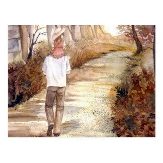 Postal Pintura de la acuarela del rastro del otoño