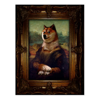 Postal Pintura de Shibe Meme de la bella arte de Mona