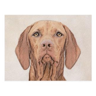 Postal Pintura de Vizsla - arte original lindo del perro
