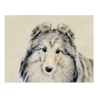 Postal Pintura del perro pastor de Shetland - arte