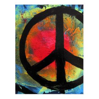 Postal Pintura del signo de la paz del arco iris del arte