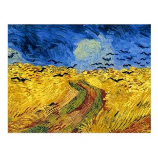 Postal Pintura famosa de los campos de trigo de Van Gogh