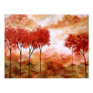 Postal Pintura flaca roja de los árboles del arte