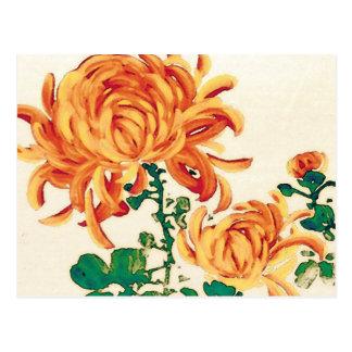 Postal Pintura japonesa del vintage de crisantemos