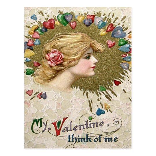 Postal Pintura subió mujer de los corazones del corazón