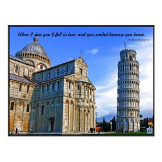 Postal Pisa la torre inclinada con cita del amor