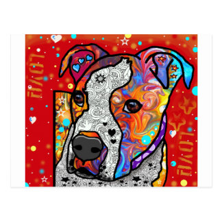Postal Pitbull cósmico - colorido brillante - idea del
