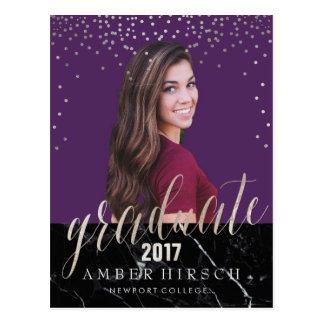 Postal PixDezines confeti de plata graduado/falso de 2017