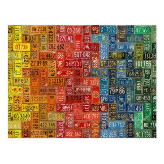 Postal Placas coloridas de los 50 estados