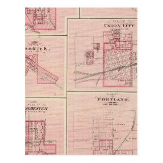 Postal Plan de Portland, Jay Co, Ind con Camden