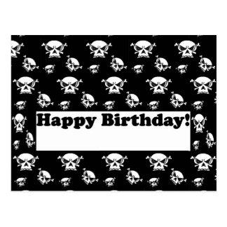 Postal Plantilla de los cráneos del feliz cumpleaños