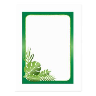 Postal Plantilla en blanco de las hojas tropicales verdes