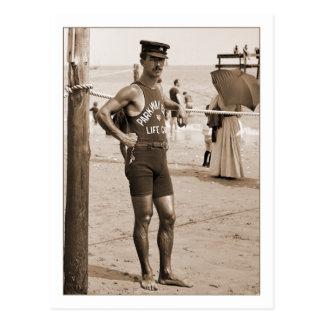 Postal Playa 1905 de Brighton del salvavidas