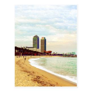 Postal Playa de Barcelona en puesta del sol