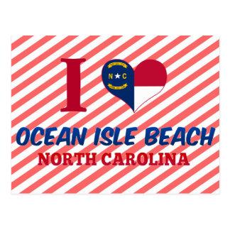 Postal Playa de la isla del océano, Carolina del Norte