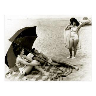 Postal Playa de Oregon del verano - foto del vintage