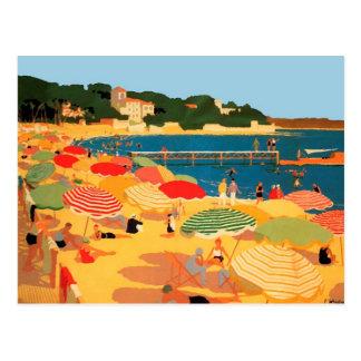 Postal Playa de riviera francesa del vintage
