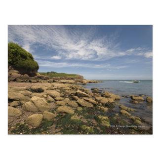 Postal Playa rocosa con viajar de la motora