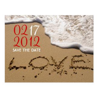 """Postal Playa roja """"amor en reserva de la arena"""" la fecha"""
